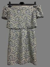 NEW TOPSHOP BLUE GOLD FLORAL LACE OFF THE SHOULDER BARDOT DRESS 6 to 12 RRP £50
