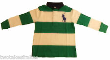 Ralph Lauren Rugby Polo Shirt Top Boys Long Sleeve L/S Green White Striped New