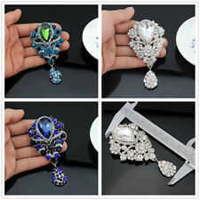 Women Vintage Style Art Deco Flower Drop Brooch Pin Pendant Rhinestone Crystal