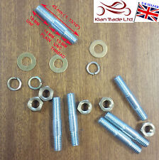 5/16 UNC/UNF x 1 13/16 Manifold Studs + Brass Nut + Washers Inlet Exhaust 45mm