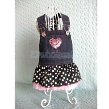 Demin Dog Puppy Straps Dress Pet Apperal Clothes Jean Color With Heart XS-XL
