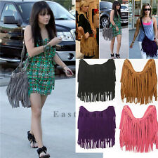 Tassel Celebrity Fringe Faux Leather Shoulder Messenger Cross Body Bag Handbag