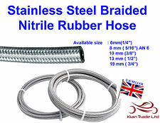A2 Stainless Steel Braided Nitrile Rubber Braid Fuel Line Hose Petrol Pipe Oil