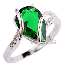 Charm Emerald White Topaz Women Gems Silver Plated Jewelry Ring Size 7 8 Gift