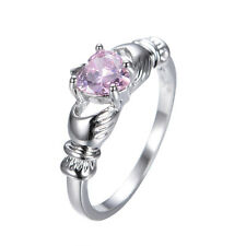 Pink Sapphire Crystal Women's 10Kt White Gold Filled Wedding CZ Ring Size 6-10