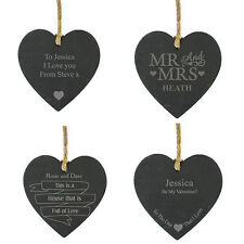 Personalised Slate Hanging Heart Sign Plaque. Wedding Birthday Engagement Gift