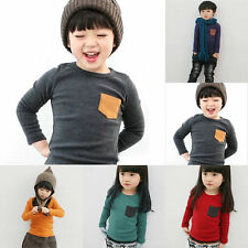 Toddler Kids 100% Cotton Long Sleeve T-shirt Tee Baby Boys Girls Tops Clothing