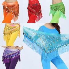 Chiffon Coins Tassels Sequins Triangle Hip Scarf Skirt Belly Dance Costume H93