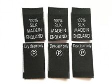 100% Silk Woven Label Clothing Garment Sew-in Woven Labels Black