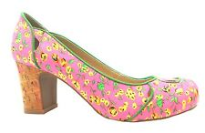 Ruby Shoo Sara Women's Pink Floral Blossom Medium Heel Slip On Court Shoes New