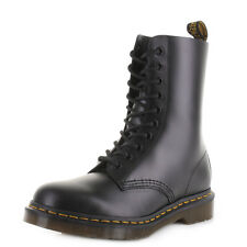 Dr Martens Dm 1490 Black Smooth Leather Lace Up Casual Ankle Boots Size