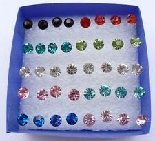 2016 Wholesale Lots 20 Pairs Multicolor Rhinestone Stud Earrings In Jewelry