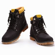 Trendy Mens Winter Warm Nubuck Leather Work Boots Hiking Flat Ankle Boots Size