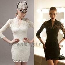 Curve Hugging Women's Lace Bodycon Fit Cocktail Party Little White Black Dress
