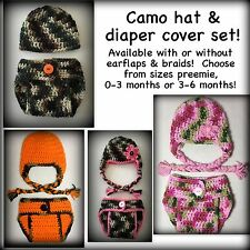 Camo hat & diaper cover 0-3 Month 3-6 Month Preemie, Photo Prop Baby, pink camo
