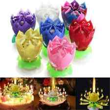 New Romantic Musical Lotus Flower Rotating Happy Birthday Party Candle Lights TR