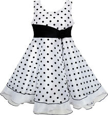 Sunny Fashion Flower Girl Dress Black White Dot Tulle Party Pageant Size 4-12