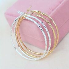 """Fashion Round Big Hoop Large 2"""" Circle Earrings Bamboo Pattern Silver or Gold"""