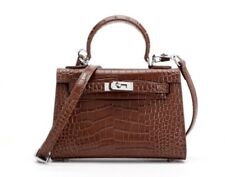 Mini Crocodile Pattern Calfskin Leather Satchel Crossbody Flip Bag Handbag