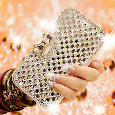 Diamond Bling BowKnot Crystal Luxury Wallet Flip Case Cover For Samsung iPhone