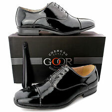 Mens New Black Patent Leather Lined Formal Smart Suit Wedding Lace Up Shoes