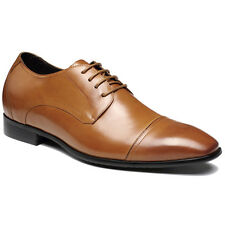 Men's Leather Dress Formal Casual Oxford Shoes Brown Elevator Shoes CHAMARIPA