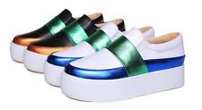 Stylish Contrast Band Metallic Skate Slip-Ons Loafers Platforms Sneakers Black