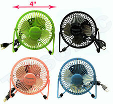 "4"" Metal Super Mute Portable Mini USB Cooling Desk Fan Cooler PC Laptop Computer"