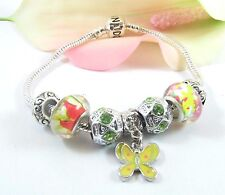 European Style Sterling Silver Multicolor Murano Beads With Butterfly