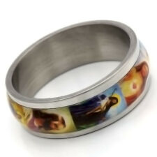 Stainless Steel No Stone Mens Womens Enamel Band Ring Size 7 8 9 10 11