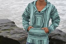 "Baja Hoodie ""Sea Glass Green +Ocean Blue"" Mexican Poncho Pullover Drug Rug Jerga"