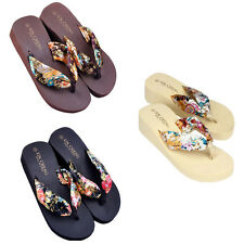 Women's Bohemia Floral Beach Sandals Wedge Platform Thongs Slippers Flip Flops