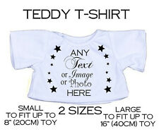 "Personalised Teddy Bear T-Shirt ANY TEXT PHOTO LOGO Fit 8""-18"" Soft Toy Mum Gift"