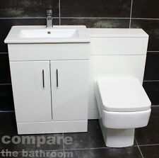 1100mm Turin Vanity Furniture Basin Sink and Toilet Set Bathroom Suite White