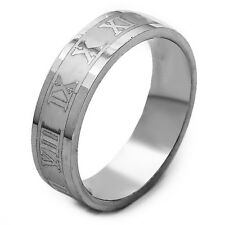 Stainless Steel Mens Jewelry Carve Roman Numerals Band Ring Size 7 8 9 10 11