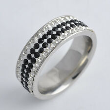 Woman Stainless Steel 4-Row CZ Black/White Promise Love Band Ring,size 6 7 8 9