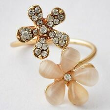 Pretty Womens Gold Filled Clear CZ Opal Flowser Promise Love Band Ring Size 6-9