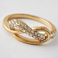 Elegant Womens Gold Filled Clear CZ Infinity style Promise Band Ring Size 6,8,9