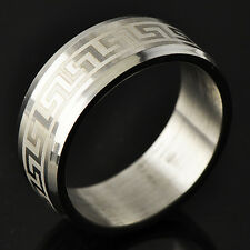 Arab style Men's White Gold Filled Band Promise Love Band Ring Size 8-11