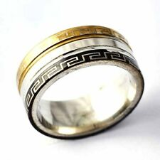 Arab pattern Gold Filled/stainless steel Unisex Promise Love Band Ring Size 7-11