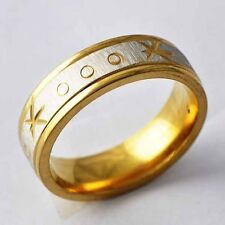 Carving Flower Y Gold Filled&stainless steel Promise Love Band Ring Size 8-12