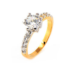 Classic Two Tone Gold Plated Clear Big Round CZ Promise Love Band Ring