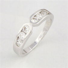 Womens New Promise Love Band Ring 18K Platinum Plated Round White CZ