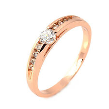 Fashion Rose Gold Filled Clear Round Cubic Zirconia Promise Love Band Ring