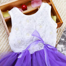 Kids Baby Girls Toddler Princess Party Tutu Lace Bow Flower Floral Dress