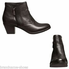 WOMENS HUSH PUPPIES GINNY BLACK LEATHER BOOTS SHOES WITH ZIP THICK HEELS HEEL