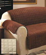 STONE QUILTED SUEDE PROTECTIVE FURNITURE SOFA, LOVE SEAT & CHAIR COVER