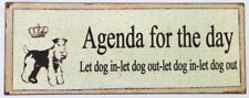 Tin Metal Wall Plaque Sign Retro Cats are Little People Agenda Let Dog In Out
