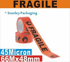 36 x FRAGILE Sticky Packaging PackingTape 48mm x 75M Black on Red 45 micron