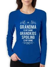 Grandma Is Is My Name Grandkids Spoiling Is My Game Women Long Sleeve T-Shirt